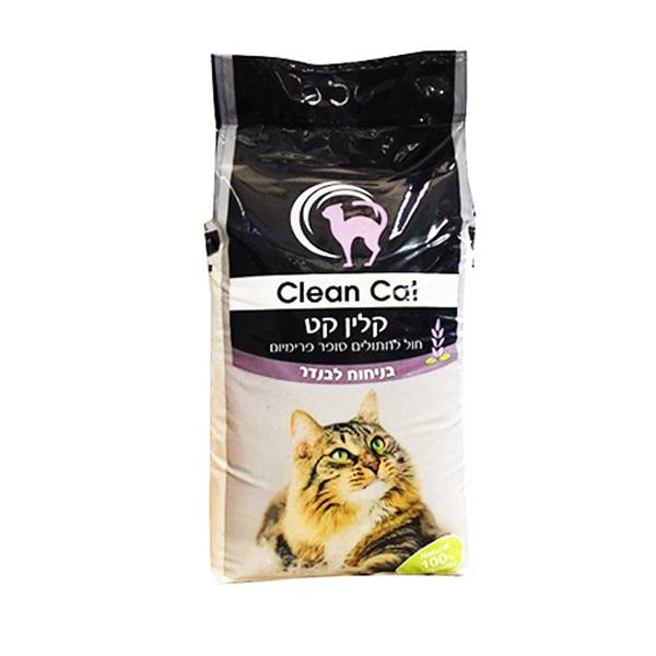 "CLEAN CAT קלין קט חול מתגבש בריח לבנדר 15 ק""ג"