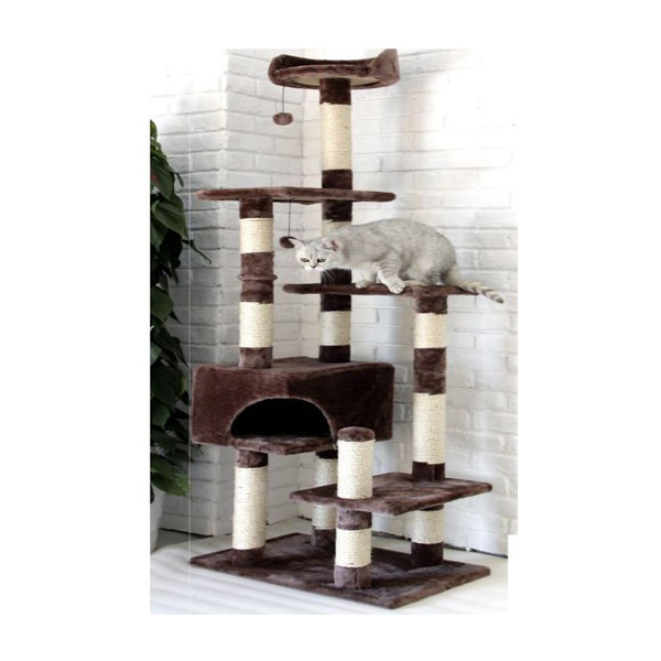 מתקן משחק לחתול דגם 456 אפור שש קומות בגובה 1.62 מ'