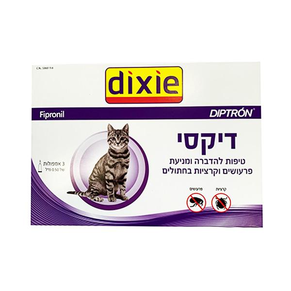 DIXIE אמפולות דיקסי לחתול נגד פרעושים וקרציות